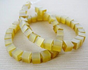 Beads, Cats Eye, Golden Yellow, 4mm Cubes
