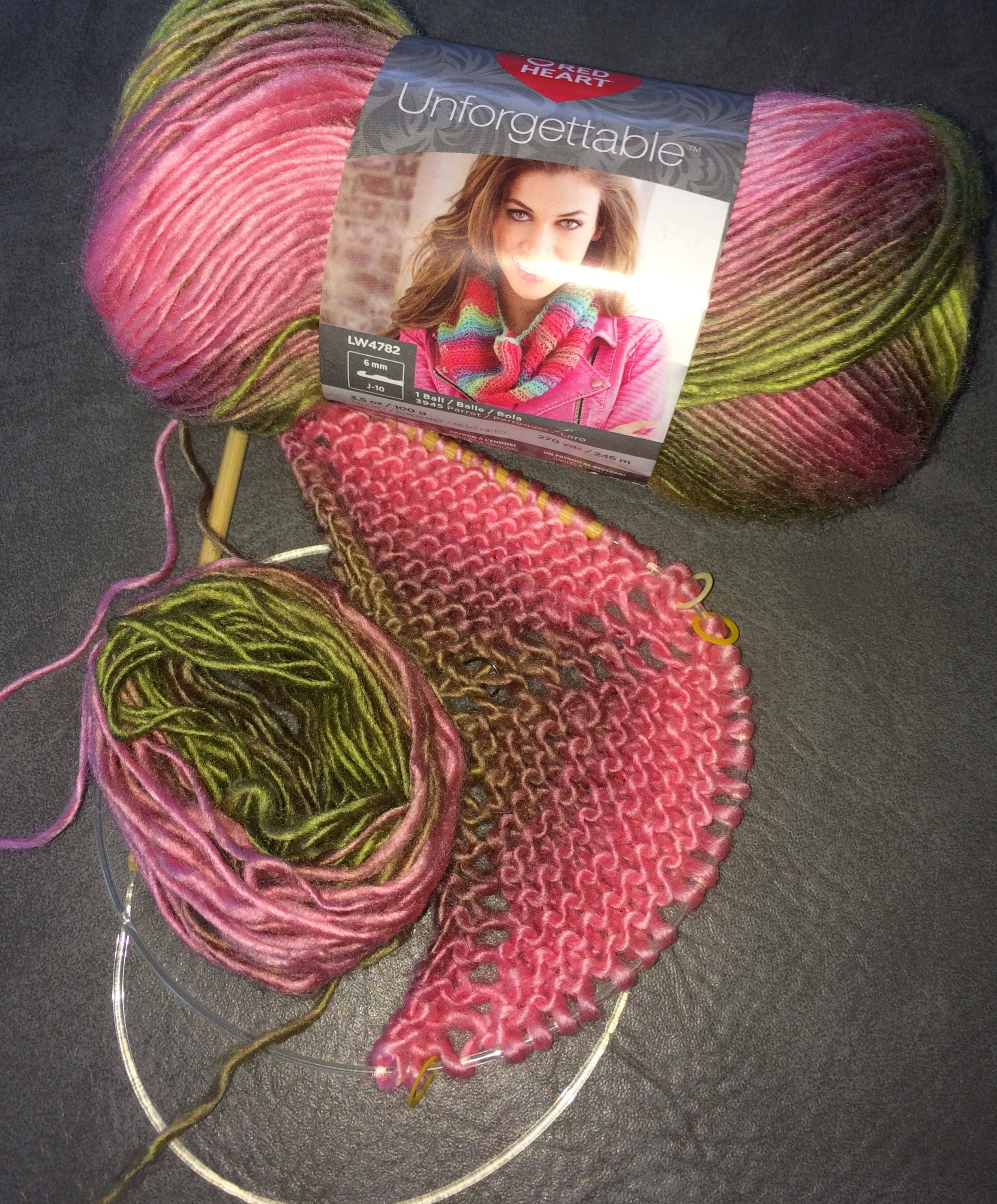Red Heart Unforgettable Yarn, Color Sugarcane, Pink and Green, Self ...