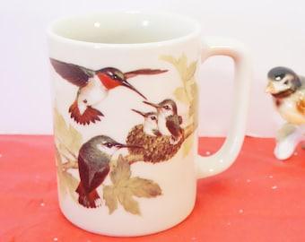 Hummingbird Mug/Hummingbird Cup/Bird Mug/Bird Cup/Ceramic Bird Mug/Otagiri/Japan/Bird Lover's Gift/Audubon Gift/Bird Gift/Bird Coffee Mug