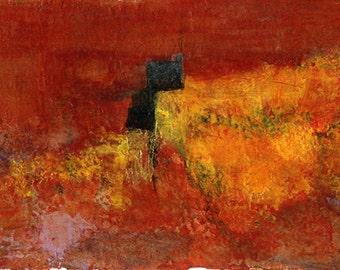 Original Painting Abstract Design Modern Wall Art  Acrylic Red Gold Orange Black