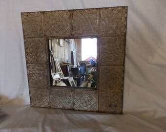 AUTHENTIC Vintage Tin Ceiling Mirror Taupe Gray Shabby Recycled CHIC 23x23 238-17P