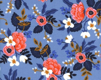 Cotton + Steel - Rifle Paper co.- Les Fleurs- Birch Floral in Periwinkle - Anna Bond -Medium weight cotton