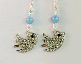 SALE! Rhinestone bird charm earrings, swarovski iridescent light blue pearls, Azore crystals birdie earring vintage style flying bird