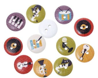 buttons 10 wood Music Instruments - 15mm - 2 holes