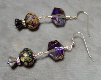 Lampwork Earrings -Artisan Lampwork Beaded Crystal Silver Filled Earrings-SRAJD-Art Beaded Earrings - Statment Earrings - Dangle earrings