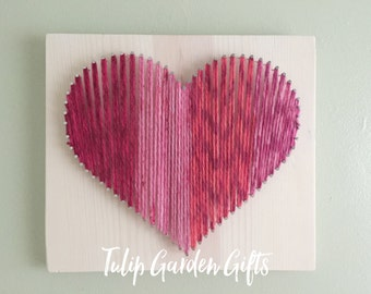 Heart on Fire 10x12, Heart String Art, String Art Heart, Nail & Thread Heart, Stringart Heart, Heart Stringart, Thread Heart, Nailed Heart