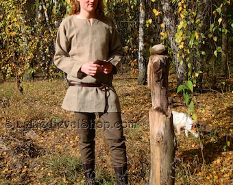 Basic medieval pants, made of tick linen, Viking pants reenactment Middle Ages