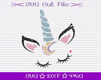Distressed Unicorn SVG, Unicorn Face SVG, Unicorn Head SVG, Unicorn with Lashes, Unicorn Birthday, Cute Unicorn SVg, Grunge Unicorn Svg