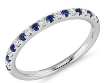 Diamond and Blue Sapphire Half Eternity Band 14K White Gold Alternating Sapphire Diamond Pave Eternity Ring 1.6mm Matching Band Birthstone