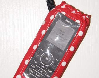 Wave Phone Holder With Window And Clip For Your Disney Cruise Red & White Polka Dots Can Be Personalized