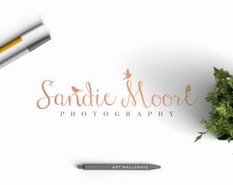 Bird logo, Sparrow logo, Pre made logo, Hand drawn logo, Photography logo