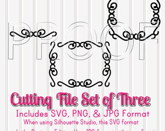 Cutting File Set of 3-Swirlie Frame Borders--SVG PNG and jpeg Formats included-Commercial use approved! Frames for initials, sayings etc!