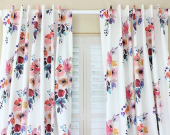 Girl Nursery Curtains Floral Curtains Jewel Tones Floral Curtains CUSTOM  Spoonflower Cotton Twill Curtain Panel Set