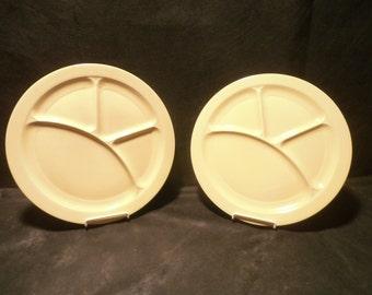 Vernon Kilns Plates Yellow Early California Two Grill Plates
