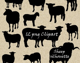 Sheep Silhouette clip art ,12 png Clipart printable, Instant Download,  clip art
