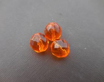 Faceted Bohemian 14 mm: 2 hyacinth orange beads