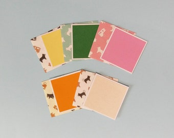 Dog Handmade Mini Card Set with Envelopes, Animal Envelopes  - Dog Envelope Set - Set of 5