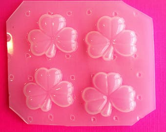4pc Puffy St Patricks Day Shamrock Clover Flexible Plastic Mold For Resin Crafts