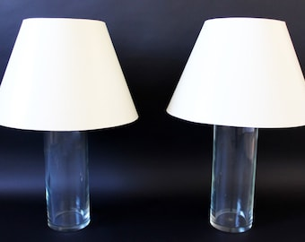 Mid Century Modern Pair Cylindrical Glass Brass Table Lamps Chapman Hansen Era
