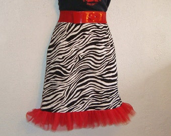 Zebra Stripe & Red Tulle Mini Wiggle Skirt