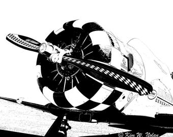 Black and white Airplane illustration Airplane nursery Airplane decor Airplane art Adventure themed nursery Prop plane Airplane propeller