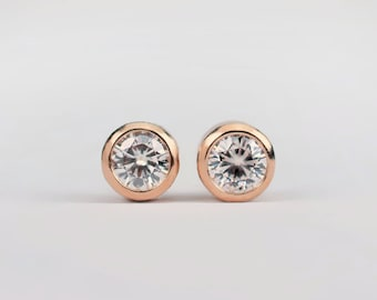 Diamond Stud Earrings   Small rose gold and diamond earrings   READY TO SHIP   Minimalist Jewelry   For her for him   Sustainable ethical