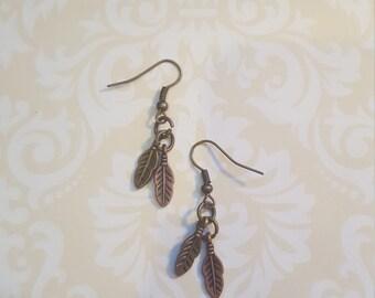 Bronze colored Arrow Boho Charm Earrings