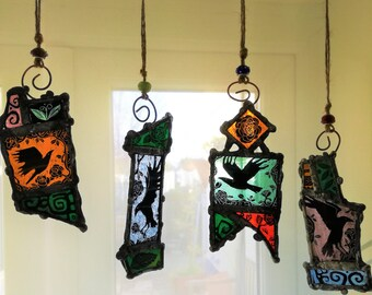 Crows and Roses- Ravens /Bird Stained Glass Light Catcher= Made to order