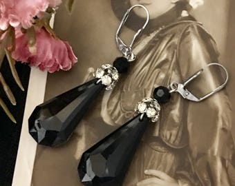 Private Club, vintage assemblage earrings, rhinestone, celluloid, teardrop, altered