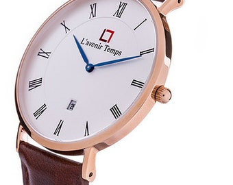 Classic Roman Rose Gold with Brown Strap