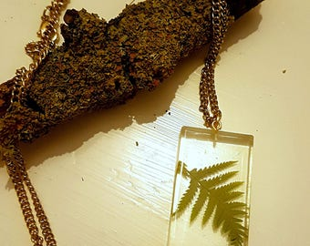 Forest Fern Crystal Resin Necklace with Long Gold Chain