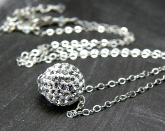 Swarovski Crystal Necklace, Pave Ball Pendant, Rhinestone Crystal Jewelry, Sterling Silver, Wedding Jewelry, Christmas Ball Necklace Gift