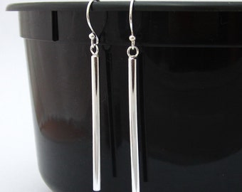 Cute Silver Earrings 925 Sterling Silver Bar Earrings Drop / Dangle Bar Earrings Geometric Line Stick Earrings, Simple Minimalist Jewelry