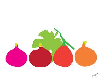 Kitchen Art, Fig print, Fig art, Fruit Art, Food Poster, Kitchen Wall Decor, Fruit Print, Food Art, Food Illustration, Food Print Food Decor