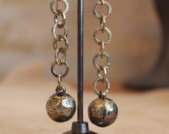 Brass chain and balls, 14 karat gold earwires