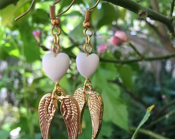 Angel wings earrings, heart and wing earring