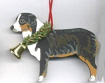 Hand-Painted AUSTRALIAN SHEPHERD TRI Wood Christmas Ornament...Artist Original, Christmas Tree Ornament Decoration