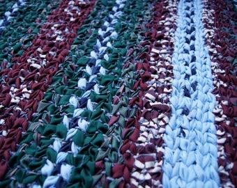 Twined Rag Rug, Woven Rug, Rag Rug, Country Farmhouse Decor, Kitchen Rug, Handwoven Textile