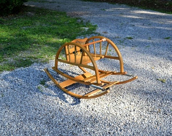 Vintage Teeter Totter Childs Bouncing Rocker Mid Century Childrens Play Seat Bentwood Delphos Bending Co PanchosPorch