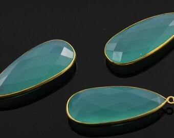 Aqua Blue Chalcedony, Bezel Pear Shape Chalcedony Component, Gold Vermeil ,  14x32mm 1 Piece, (BZC7490)