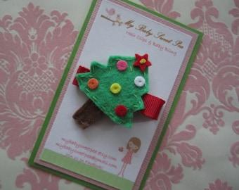 Girl hair clips - girl barrettes - Christmas hair clips - tree barrettes - no slip hair clips