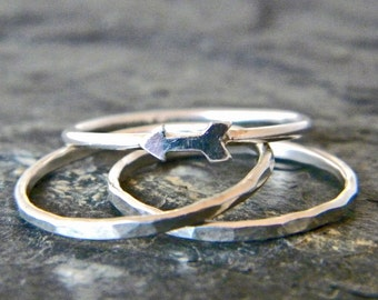 Arrow Ring - Sterling Silver Stacking Ring Set - Minimal Stacking Rings - Keep Going - Silver Thumb Rings for Women - Gift for Her
