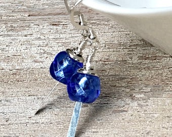 Royal Blue Murano Glass Sterling Silver Minimalist Dangle Earrings    for Her Under 50, US Free Shipping Gift Wrap