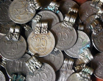 5pcs  VINTAGE Indian Coin Pendant Adornment Charm from Banjara Tribe