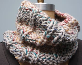 Hudson Chunky Rib Knit Cowl Turtleneck Multi Color