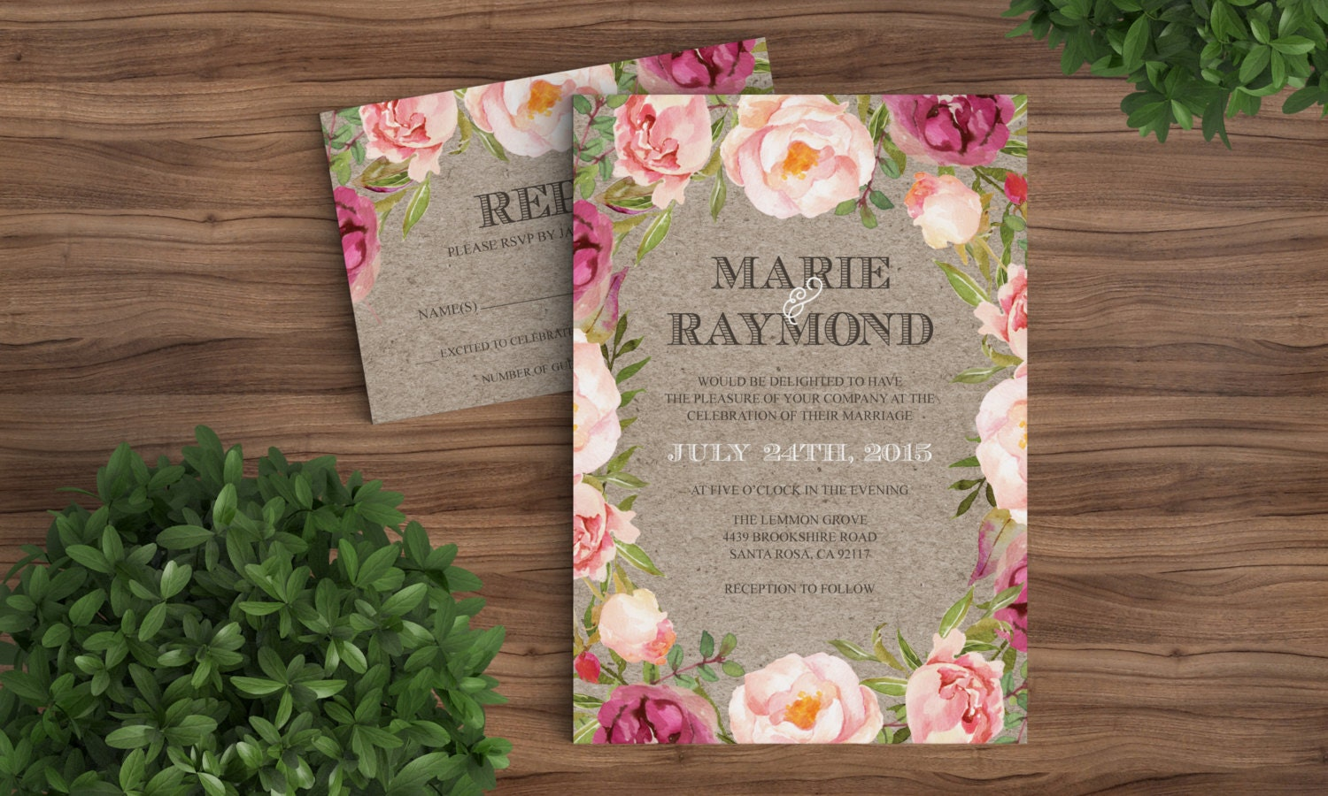 Wedding Invitation Template Rustic Bohemian Floral