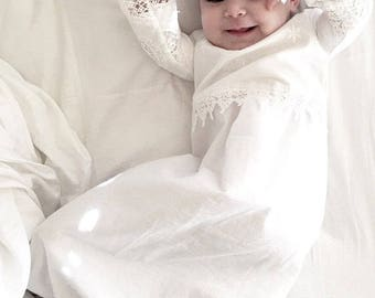 Christening dress baby girl  - free shipping US  baby girl Baptism dress - baptism dress - Christening gown --Heirloom design --A6535