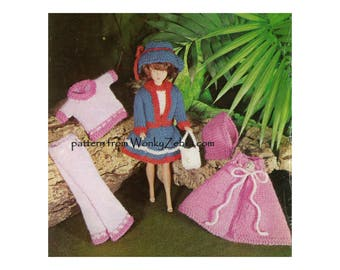 Vintage Sindy doll clothes knitting pattern doll suit doll dolly sweater Barbie 11- 12 inch teen doll Knit Pattern PDF 1004 from WonkyZebra