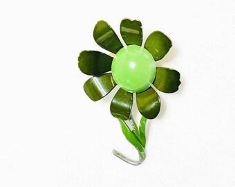 Vintage Flower Brooch, Green enamel, retro floral figural, Item No. C038