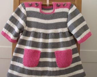 Knitting Pattern Baby Dress - Happy Day Baby Dress - baby girl knitting pdf pattern instant download stripes dress knit pattern
